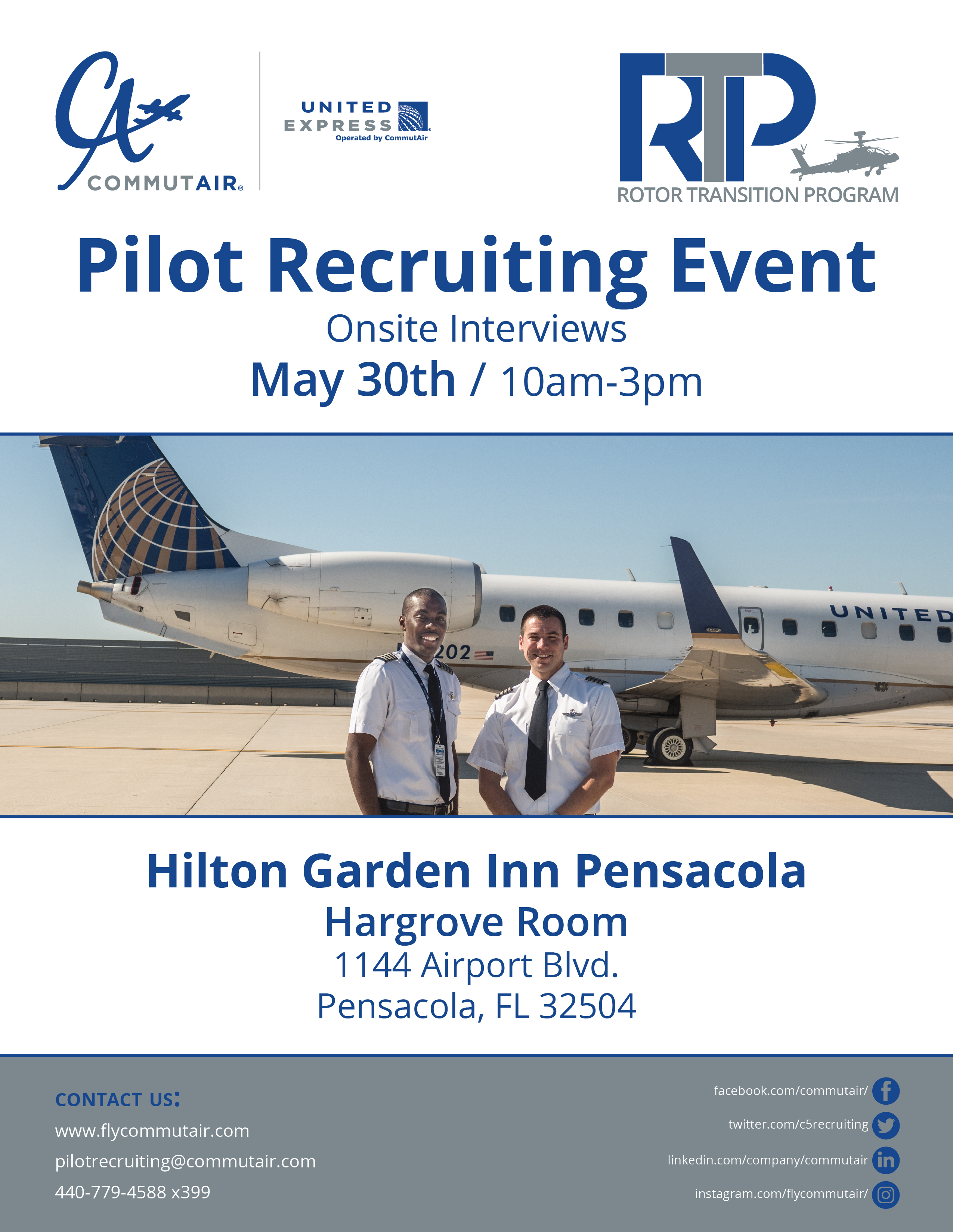 Just A Reminder That TOMORROW CommutAir Will Be In Pensacola Conducting  Onsite Pilot Interviews!