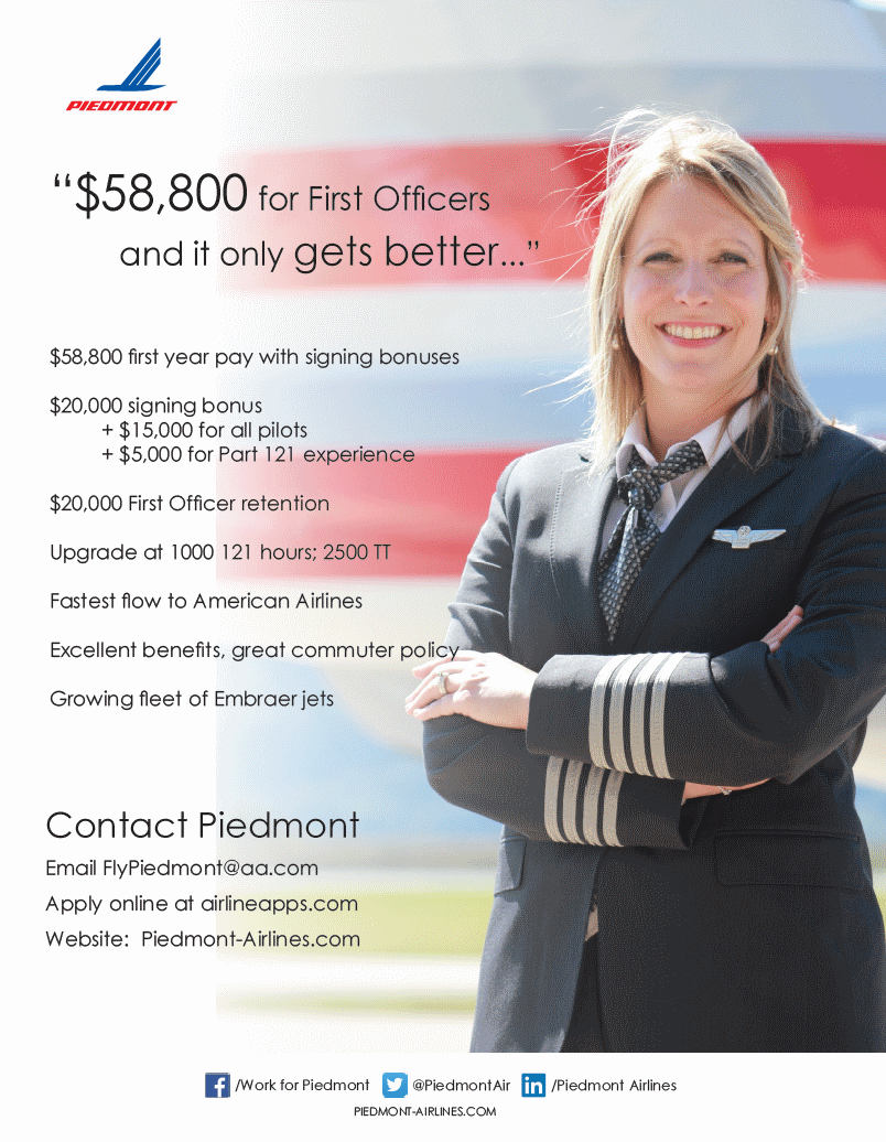 airline applications piedmont airlines offers the best combination of pay upgrade time and guaranteed job at american airlines